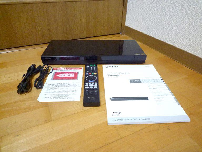 ブルーレイレコーダー SONY BDZ-ZT1700 ソニー RMT-VR110J HDD 1TB B-CAS DVD 4Kブラビアモード 2019年